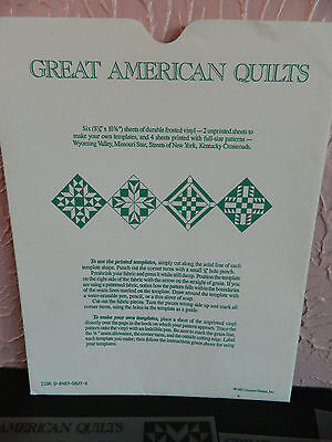Oxmoor House American Quilting Stencil Patterns 4 Design 2 Blank Sheets 1987 New 4' Quilting Stencil Design