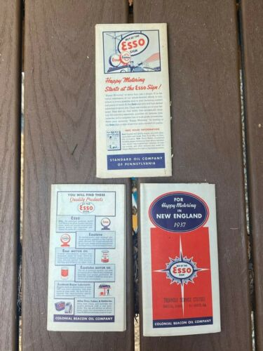 Colonial Beacon Oil company & Standard Oil 1937 map esso penn ny new england