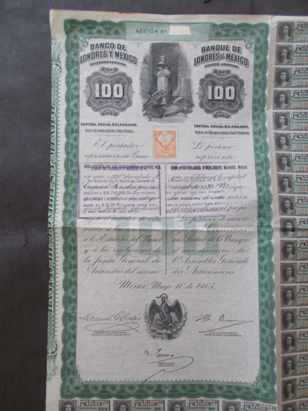 MEXICO: BANCO de LONDRES Y MEXICO - 1905 - NOT CANCELLED
