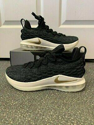 9e8858157d3 Nike Lebron XV 15 Low Size 9 New Black Metallic Gold Oreo A01755 001 Rare  Size