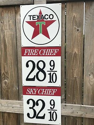 Texaco gasoline advertising sign rare 3 piece sign vintage reproduction 1940-50s