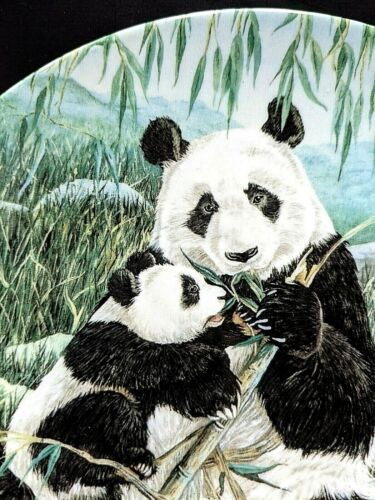 "Panda Plate ""A Mothers Care"" by Joyce Bridgett 1990  W. L. George fine China"
