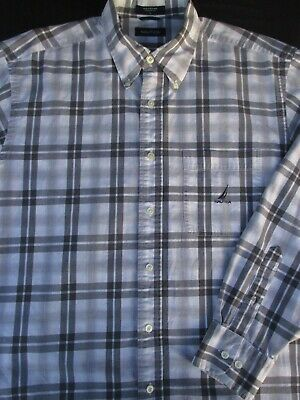 Nautica Mens Button Front Long Sleeve Cotton Plaid Logo Shirt Large L