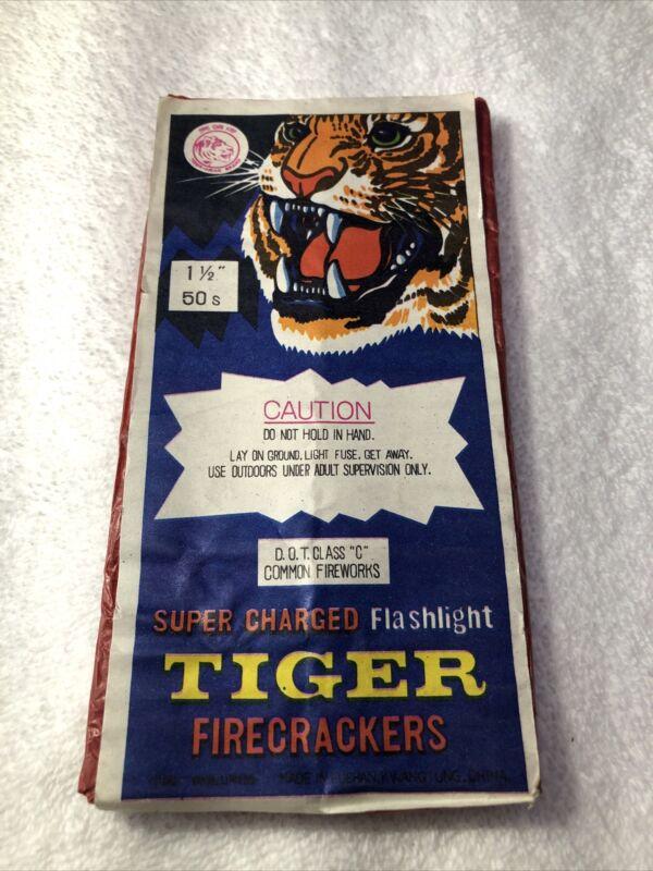 "Vintage Tiger Head Brand Super Charged Flashlight Firecracker Label 1-1/2"" 50s"