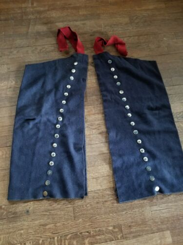 Antique trade cloth used for Native American dance leggings, navy blue