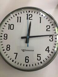 "Vintage Edwards 12"" Round School Industrial Wall Clock NOS"