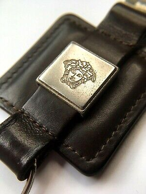 GIANNI VERSACE VINTAGE '90s MEDUSA SQUARE LEATHER KEY CHAIN DARK BROWN ITALY