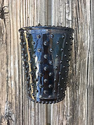 Simpatico Home Ambergris Dark Navy Hobnail Glass Cup Vase Candle Holder EUC - Navy Vase