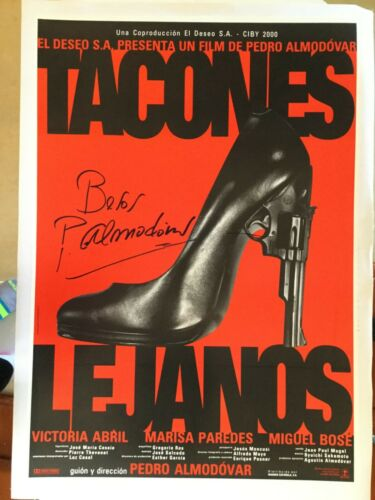 TACONES LEJANOS RARE AUTOGRAPHED BY PEDRO ALMODOVAR LINENBACKED MINT