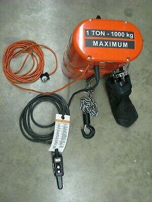 CM Lodestar 1 Ton Electric Chain Hoist 16' Pendant 15' lift 16 FPM 120 V 1-phase