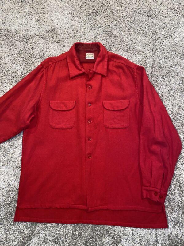 1960s VTG McGREGOR Washable Wooloomooloo Wool Flannel Shirt XL 17.5