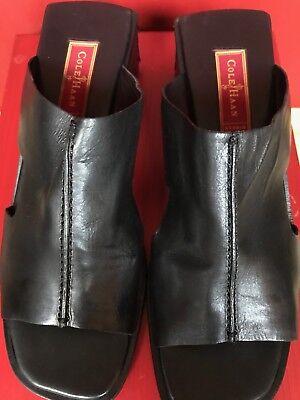 (Cole Haan Studio Women Leather Slip On Open Sandal Square Heel Sz 8.5)