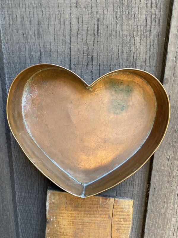 Signed Artist Michael Bonne Vtg Copper Heart Pan County Folk Art Hand Made God❤️