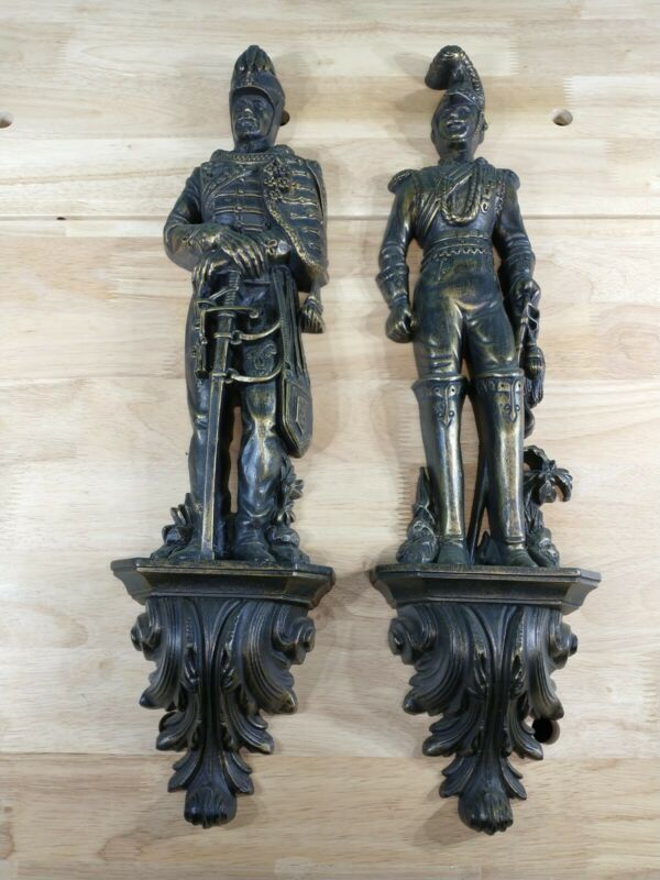 Vintage Pair of 1965 Burwood Products Company Soldiers Wall Hanging #4325 & 4326