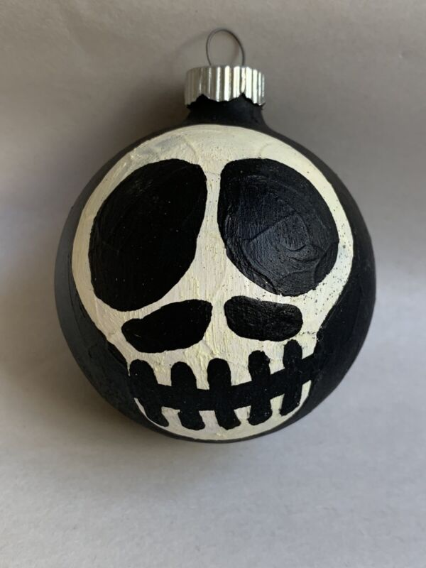 Vintage Skeleton Skull head Glass Ball Shiny Brite Halloween Ornament #U2