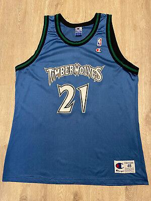 VTG Champion Kevin Garnett Jersey Minnesota Timberwolves #21 Vintage 90s Size 48
