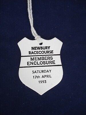 2 - Horse racing - Card Badge - Newbury - Members - 17th April 1993