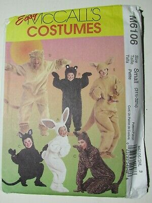 McCall's Easy Costumes 6106 Adult Small 31.5-32.5 Mouse Lion Bunny Cat Bear