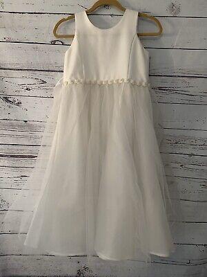 Girls Little Angels White Dress Sz 12 Communion Flower Girl Bridal Tulle Party Little Angels Flower Girl