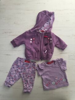 3 PCS Baby Girl Sprout Set Jacket Top Leggings Size 000   Northbridge Perth City Preview