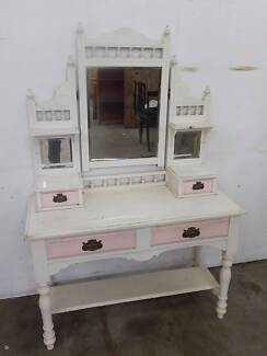 B29038 Vintage White Pink Duchess Dresser Dressing Table Unley Unley Area Preview