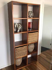 Solid Timber Display Unit with Wicker Baskets Carina Brisbane South East Preview