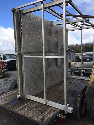 (10' X 12'  ALUMINUM PLATE BOAT DOCK, PATIO DECK WITH RAILS GOV. ISSUE WELL BUILT)