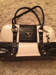 Black and white pleather purse