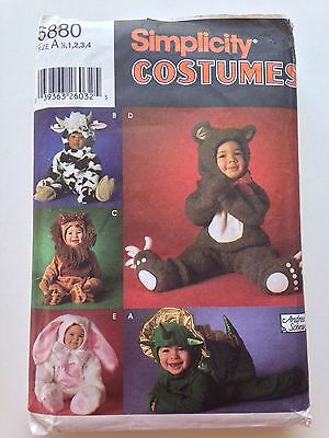 Simplicity 5880 Halloween Costume Pattern Bear Cow Lion Bunny Dragon A 1 2 3 4