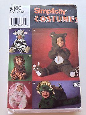 Simplicity 5880 Halloween Costume Pattern Bear Cow Lion Bunny Dragon A 1 2 3 4