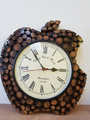 Antique Handmade wooden Apple Shape Wall Clock