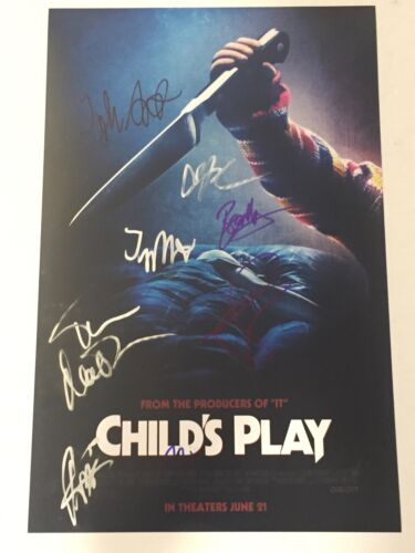 Child's Play 2019 Signed Autographed 11X17 Photo Poster Cast by 8 COA