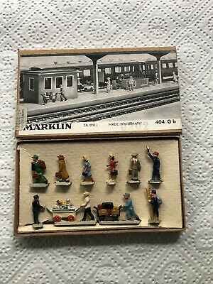 Märklin Eisenbahnfiguren Set BAHNHOFSREISENDE 404 G b von 1955 komplett, TOP!