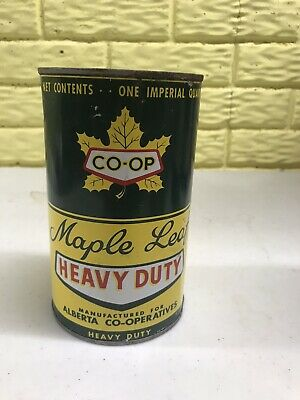 VINTAGE CO-OP Maple Leaf Oil Can ADVERTISING Imperial Quart Can Alberta Coop Car