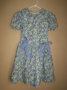 acdc93b18e5 SYLVIA WHYTE PURPLE WHITE GREEN FLORAL BOW 100% COTTON SPRING SUMMER DRESS  SZ 10
