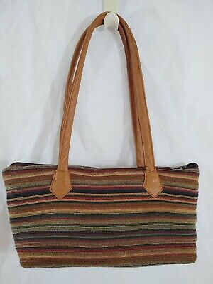 Handbag Tapestry Fabric Stripe Multi Color Barrel Bag G's Glory VGC Stripe Fabric Handbags