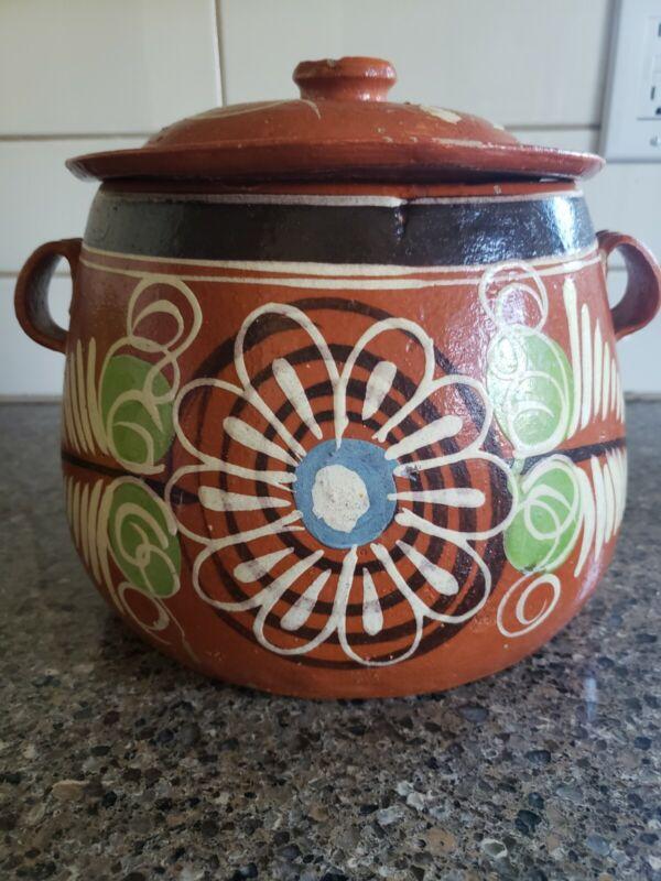Vintage Mexican Terracotta Bean Pot