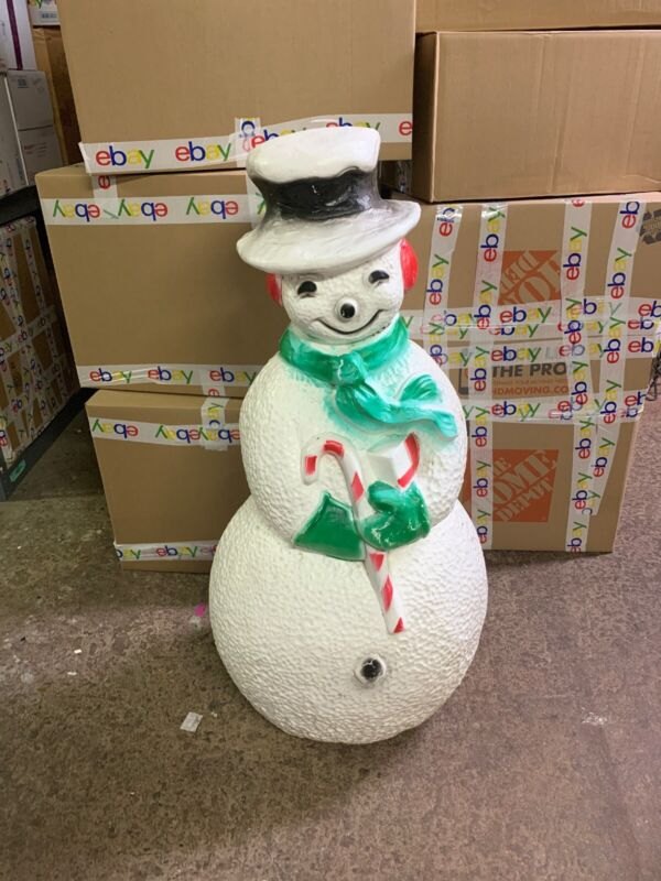 """Vintage Dimpled Frosty the Snowman Lighted Blow Mold Decor 40"""" Union Products"""