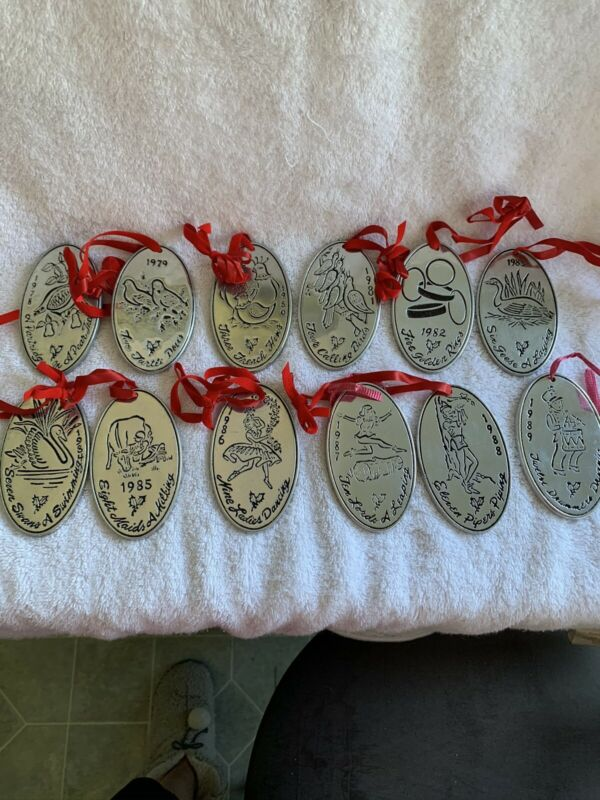 Complete SET OF 12 Wilton Armetale 12 Days Of Christmas Metal Ornaments