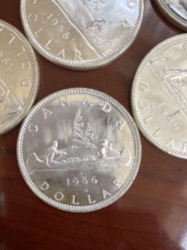 Lot (2) Silver Dollar 80% 1966 Canada Canadian ASW .60 Oz x 2 *391