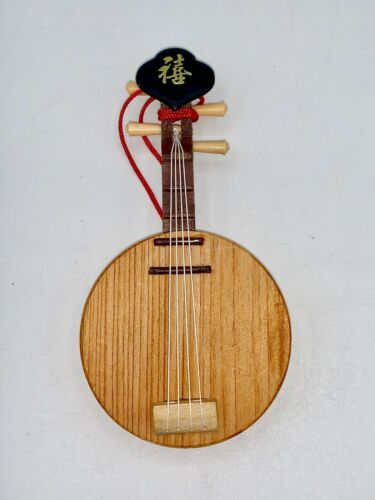 "Chinese Stringed Instrument Yuegin - Wooden Display Ornament / Figurine 4"" EUC"