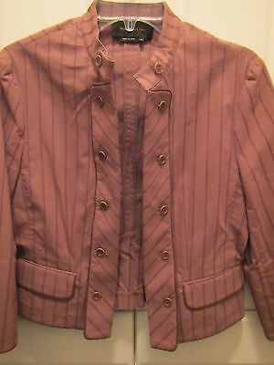 - BCBG MAX AZRIA Womens Double Breasted Blazer Size M Brown Striped Very Stylish