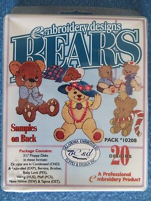 Embroidery Designs Bears - Teddy Bear Collection 20 Designs On 3 Floppy Disks