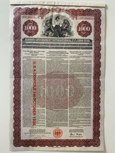 Uncancelled German Gold Loan $ 1000 -1930 Young international Government bond