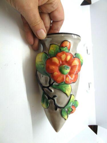 Vintage Lusterware Wall Pocket  3-D Flowers  Hand Painted in Japan