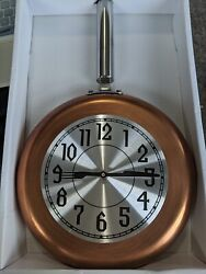Iron Frying Pan Wall Clock Copper/Silver/Black 17inx10in