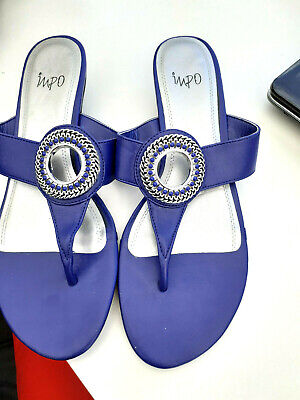 """""""impo"""" ladies royal blue  toe post wedge heeled sandals size 8"""