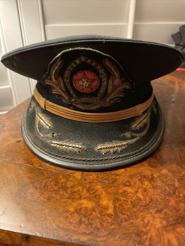 Vintage Brazilian National Military Police Lt Visor Hat -Rio De Janeiro District