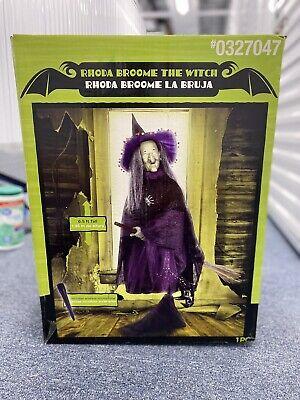 Gemmy Life Size Animatronic Halloween Witch Broom Prop Rhoda Broom Spirit NEW