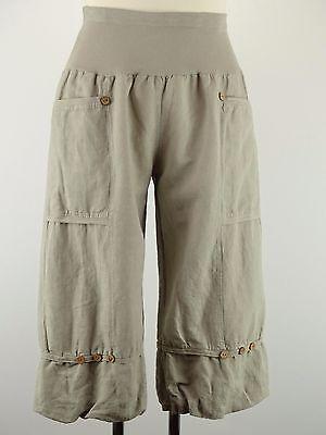 Beige Capri-hose (Capri Hose Leinen Übergröße Gr. 42 44 46 48 50 52 beige Gummizug Taschen 3/4  w)